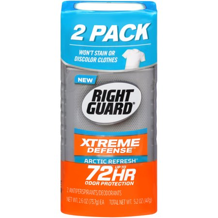 Right Guard Xtreme Defense 5 Antiperspirant Deodorant Invisible Solid Stick, Arctic Refresh, 2.6 Ounce (Pack of 2)