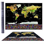 world travel tracker scratch off world map poster with us states and country flags