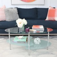 Walker Edison Mid-Century Modern Oval Glass Coffee Table