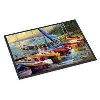 Sailboats at sunset Door Mat