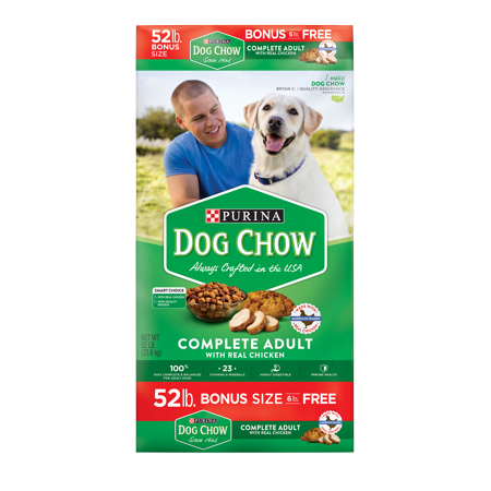 Purina Dog Chow Dry Dog Food; Complete Adult With Real Chicken - 52 lb. Bag