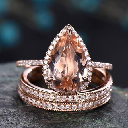 Superb 3 Carat Pear Cut Morganite and Diamond Halo Trio Wedding Ring Set in Rose Gold (Pear Shaped Wedding Ring Sets)