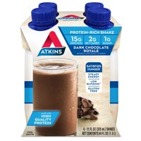 Atkins Dark Chocolate Royale Shake, 11 fl oz, 4-pack (Ready to Drink)