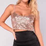 17b41c4dd91 Newest Fashion Sexy Women Ladies Bling Sequin Crop Tops Sleeveless Tank  Casual Cotton Polyester Summer Clothes