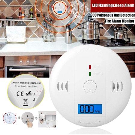 LCD CO Carbon Monoxide Smoke Detector Poisoning Gas Warning Sensor Loud Alarm, Gas Alarm, Gas Sensor Display for CO Monitor Equipment Alarm Clock Warning CE RoHS Battery