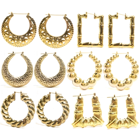 FROG SAC 6 Pairs Assorted Bamboo Style Hollow Casting Large Gold Tone Pincatch Earrings 90s Inspired Fashion Jewelry Accessories for Women and (Gold Tone Bamboo)