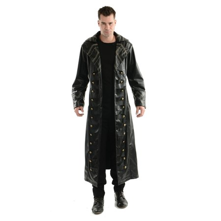 Halloween Pirate Trench Coat Adult Costume - Pirate Halloween Male Black Trench Coat