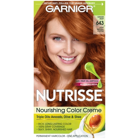 Garnier Nutrisse Nourishing Hair Color Creme (Reds), 643 Light Natural Copper, 1 kit