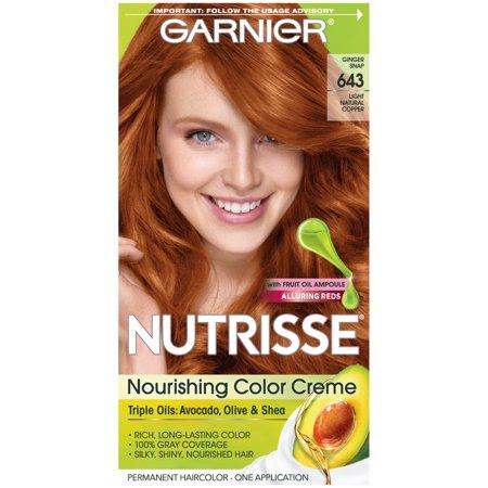 Red Hair Cream (Garnier Nutrisse Nourishing Hair Color Creme (Reds), 643 Light Natural Copper, 1 kit)