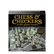 """Chess & Checkers Set with 9"""" Glass Board"""