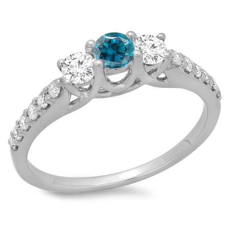 Dazzlingrock Collection 0.75 Carat (ctw) 14K Blue & White Diamond Bridal 3 Stone Engagement Ring 3/4 CT, White Gold, Size 6.5