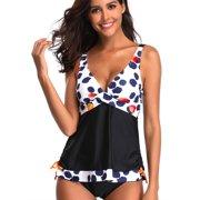 7e677e4da35f5 Womens Push Up Padded Two Pieces Adjustable Tankini Bikini Plus Size Floral  Print Swimwear Swimsuit Beach