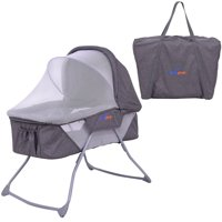 Costway Lightweight Foldable Baby Bassinet Rocking Bed Canopy Mosquito Net Carrying Bag