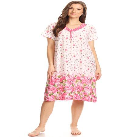 Ladies Sleepwear (1811 Womens Nightgown Sleepwear Pajamas - Woman Sleeveless Sleep Dress Nightshirt Pink XL )