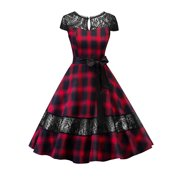 eb13b3c773b Women Lace Vintage 50s 60s Rockabilly Dress Backless Plaid Stitching Retro  Pinup Homecoming Housewife Party Dresses
