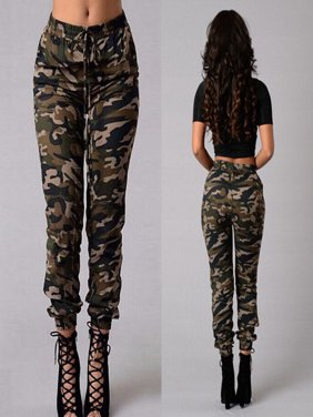 Fashion Women Camouflage Pants Camo Casual Cargo Joggers Military Army Harem Trousers