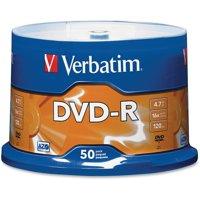 Verbatim, VER95101, 16X DVD-R Branded Spindle, 50, Silver