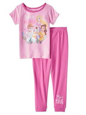 Disney Princess Baby Toddler Girls' Short Sleeve Tight Fit Pajamas, 2-Piece Set