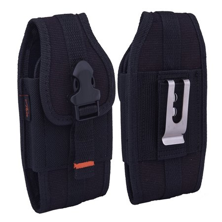 For ZTE Citrine LTE, HEAVY DUTY RUGGED Canvas Vertical AGOZ Case Holster with Metal Clip, Belt Loops, Card Slot & Front Buckle