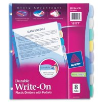 Avery Write & Erase Durable Plastic Dividers with Pockets, 8-Tab, Multicolor (16177)
