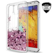 Galaxy Note 3 Case with [2 Pack] Tempered Glass Screen Protector for Girls Women,HJ Wireless Shiny Cute Moving Quicksand Liquid Clear TPU Protective Phone ...
