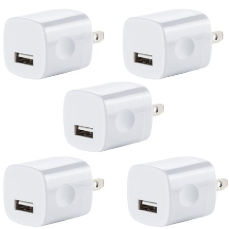 5x USB Wall Charger, Charger Adapter, FREEDOMTECH 1Amp Single Port Quick Charger Plug Cube for iPhone 7/6S/6S Plus/6 Plus/6/5S/5, Samsung Galaxy S7/S6/S5 Edge, LG, HTC, Huawei, Moto, Kindle and More ()