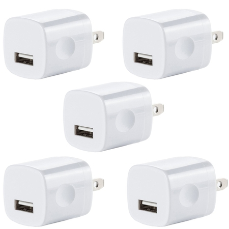 5x USB Wall Charger, Charger Adapter, FREEDOMTECH 1Amp Single Port Quick Charger Plug Cube for iPhone 7/6S/6S Plus/6 Plus/6/5S/5, Samsung Galaxy S7/S6/S5 Edge, LG, HTC, Huawei, Moto, Kindle and (Best Usb Wall Plug)