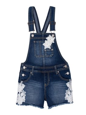 Fray Hem Overall Short (Little Girls & Big Girls)