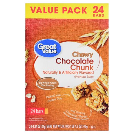 Great Value Chewy Chocolate Chunk Granola Bars, Value Pack, 20.3 oz, 24 Count (Chocolate Granola Recipes)