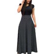2d7a73f6c Women Summer Autumn FloralPrint Boho Skirt Dress Short Sleeve Party Bodycon  Long Maxi Dress Beach Sundress