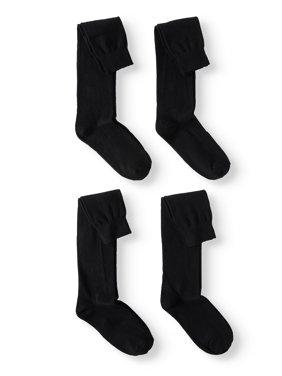 Jefferies Socks School Uniform Cotton Knee High Socks, 4 Pairs (Little Girls & Big Girls)