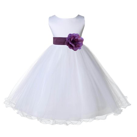 Ekidsbridal White Satin Tulle Rattail Edge Flower Girl Dress Bridesmaid Wedding Pageant Toddler Recital Easter Holiday Communion Birthday Baptism Occasions 829S