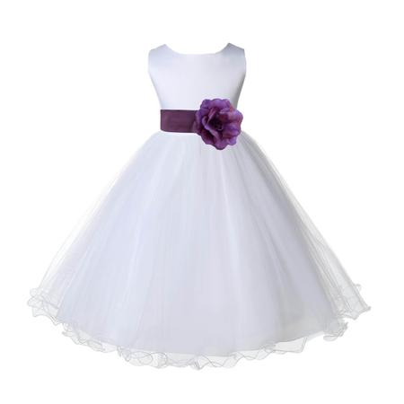 Ekidsbridal White Satin Tulle Rattail Edge Flower Girl Dress Bridesmaid Wedding Pageant Toddler Recital Easter Holiday Communion Birthday Baptism Occasions 829S - Wisteria Dress