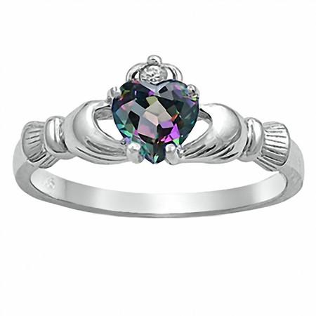 Eris: 0.765ct Heart cut Simulated Rainbow Topaz Claddagh Ring 925 Silver sz 4.5