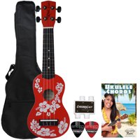 Rise by Sawtooth Beginner's Ukulele Pack with Picks, Hibiscus Red