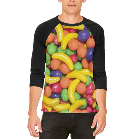 Halloween Fruit Candy Mens Raglan T Shirt - Worst Candy For Halloween