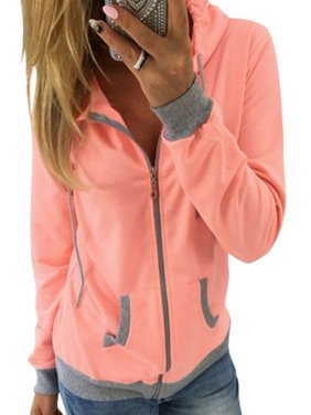 Women's Zip Up Hoodie Sweatshirt Sport Coat Jumper Sweater Long Sleeve Hooded Outwear Pullover Tops Casual