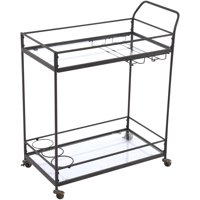 Mainstays Metal & Glass Serving Cart, Gunmetal with Wheels for Easy Transport