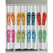 Colorful Sea Flip Flops With Flowers And Stars Shower Curtain Extra Long 84 Inch