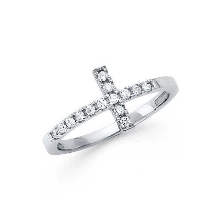 FB Jewels 14K Gold W Side Way Cubic Zirconia CZ Cross Fashion Anniversary Ring Size 5.5
