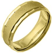 Mens 14KT Yellow Gold 6mm Satin Comfort Fit Wedding Band