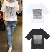 0341e4a1e41 Women Ladies Sequin Short Sleeve T-shirt Blouse Tops