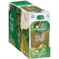 Happy Baby Organics Baby Food, Pears, Kale & Spinach, 3.5 Oz x 8