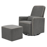 DaVinci Olive Upholstered Swivel Glider with Bonus Ottoman in Dark Grey with Cream Piping