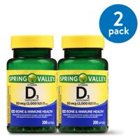 (2 Pack) Spring Valley Vitamin D3 Softgels, 2000 IU, 200 Ct, 2 Pk