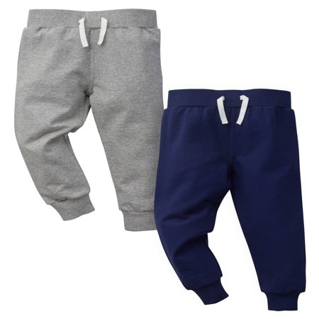 Gerber Graduates Grey and Blue French Terry Pants, 2pk (Baby Boys and Toddler Boys)