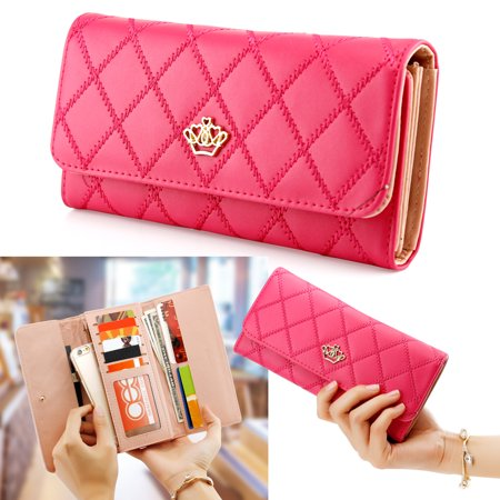 Fashion Lady Check Plaid Faux Leather Women Wallet Clutch Long Purse Card Holder Handbag 3 Part Show Card Wallet