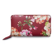 66d976cc966 Gucci Shanghai St Red Blooms Blossoms Floral Leather Zip Around Wallet Box  New
