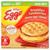 Kellogg's Eggo Bacon, Egg & Cheese Breakfast Sandwiches Family Pack, 8 count, 21.7 oz