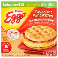 Kellogg's Eggo Bacon, Egg & Cheese Breakfast Sandwiches Family Pack, 8 count, 21.7 oz